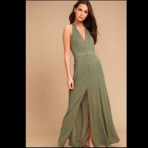 LINGERING THOUGHTS OLIVE GREEN HALTER MAXI DRESS